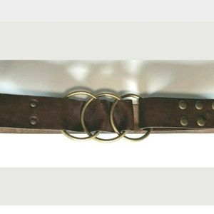 Faux Leather Brown Belt Round Ring Buckle Snap
